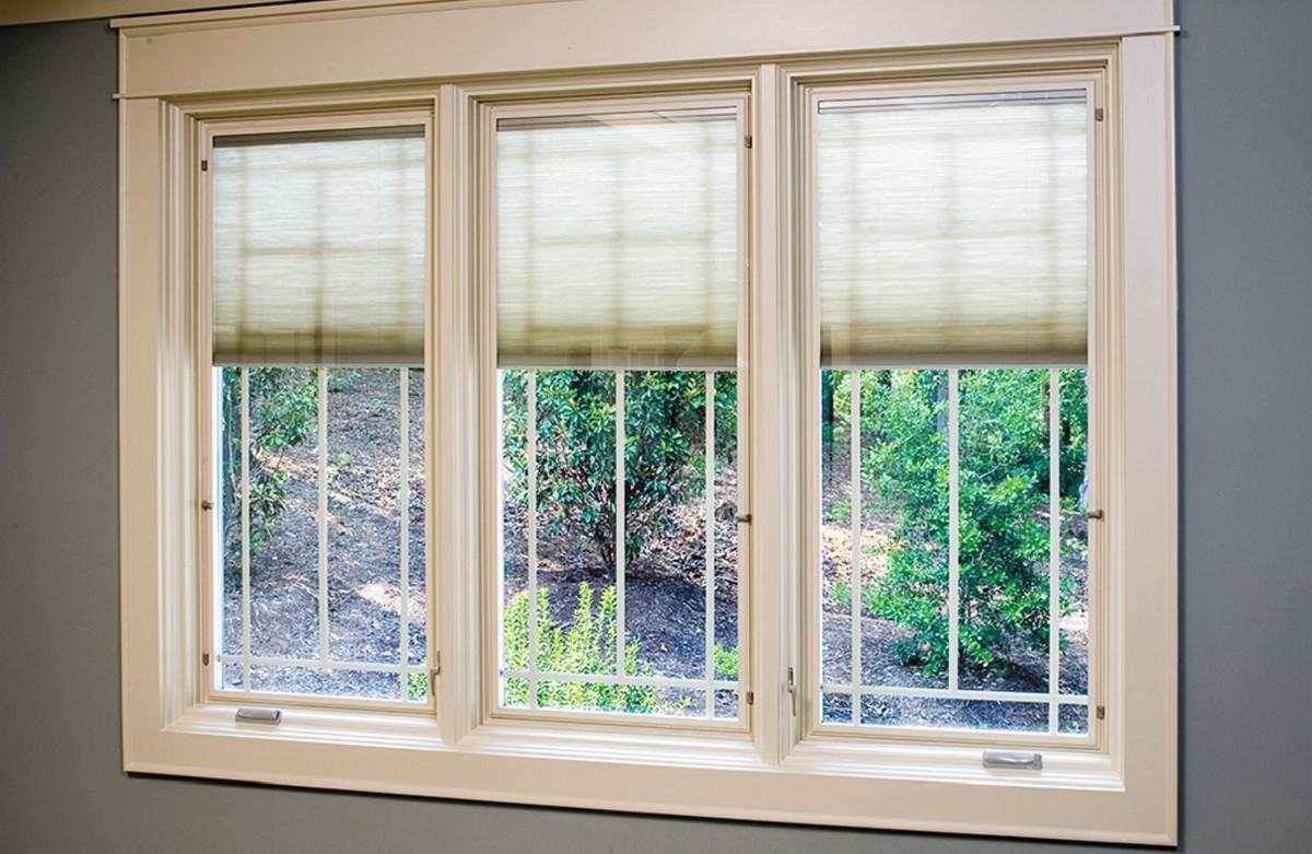 Interior casement window trim - The Factory Assembled Casement Windows Features A Prefinished White Interior Snap In Between The Glass Alabaster Colored Fabric Shades And Removable