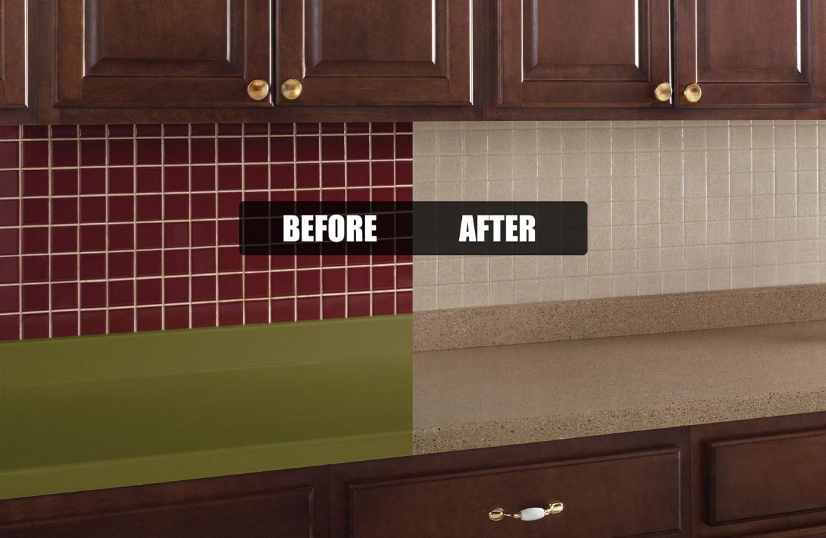 Rustoleum Countertop Paint On Tile : Kitchen Tile Transformation