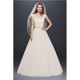 0f76c4d7ca Rating Reviews (0)  599.99 Petite Wedding Dress with Illusion Neckline  28771 David s Bridal 7NTWG3741 10828323