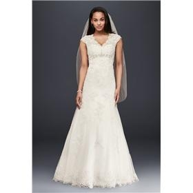 70f4bf116e0 Rating Reviews (0)  764.1 Petite Lace Satin Wedding Dress with Cap Sleeves  16583 David s Bridal 7T3299 10227403