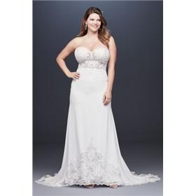 1f8583618257 Rating Reviews (0) $908 Sheer Beaded Bodice Lace Plus Size Wedding Dress  35548 Galina Signature 9SV830 11112160